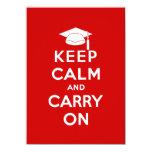 Mantenga tranquilo y continúe la graduación invitación 11,4 x 15,8 cm
