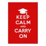 Mantenga tranquilo y continúe la graduación invitación 12,7 x 17,8 cm