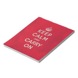 Mantenga tranquilo y continúe la libreta libretas para notas