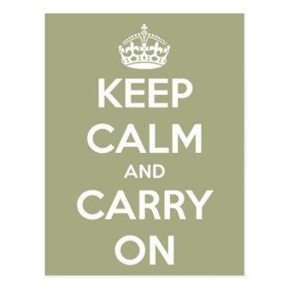 Mantenga tranquilo y continúe la postal de la verd