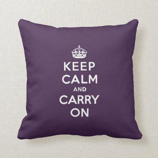Mantenga tranquilo y continúe la púrpura de Dioxaz Almohadas