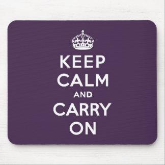 Mantenga tranquilo y continúe la púrpura de Dioxaz Tapetes De Ratones