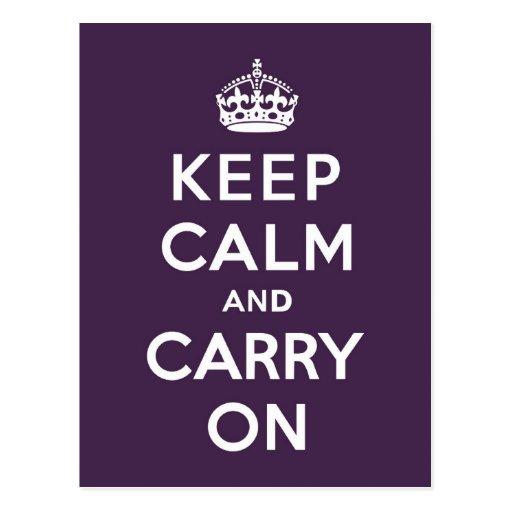Mantenga tranquilo y continúe la púrpura de Dioxaz Tarjetas Postales