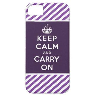 Mantenga tranquilo y continúe la púrpura del caso funda para iPhone SE/5/5s