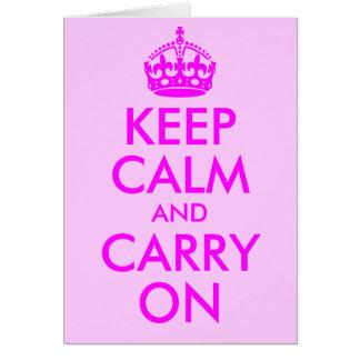 Mantenga tranquilo y continúe la tarjeta