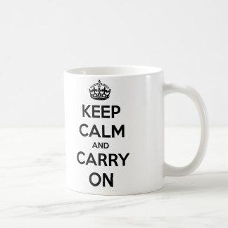 Mantenga tranquilo y continúe la taza (blanco y ne