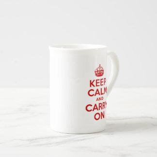 Mantenga tranquilo y continúe la taza de la especi taza de porcelana