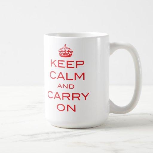 Mantenga tranquilo y continúe la taza - rojo