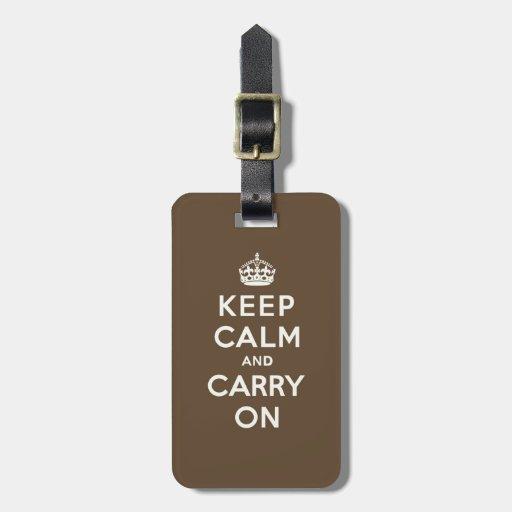 Mantenga tranquilo y continúe la vainilla en etiquetas de equipaje