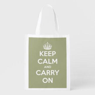 Mantenga tranquilo y continúe la verde salvia bolsa reutilizable