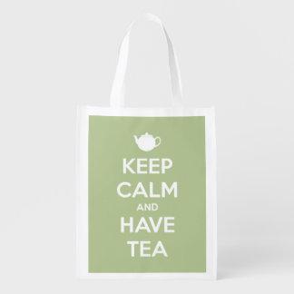 Mantenga tranquilo y continúe la verde salvia bolsas de la compra