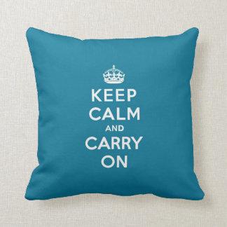 Mantenga tranquilo y continúe las azules turquesas cojines