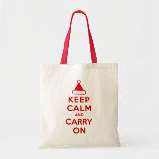 Mantenga tranquilo y continúe los días de fiesta bolsa tela barata