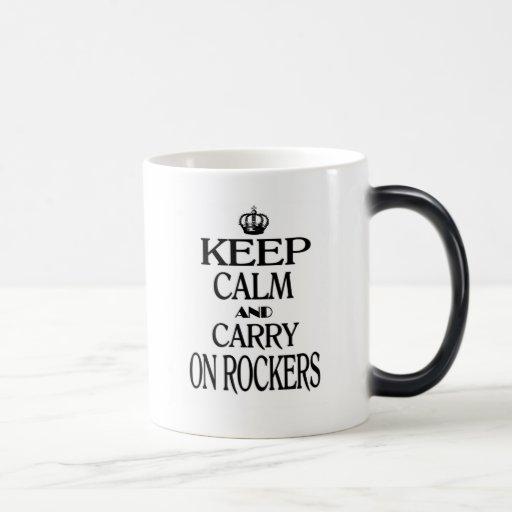 Mantenga tranquilo y continúe los ejes de balancín taza de café