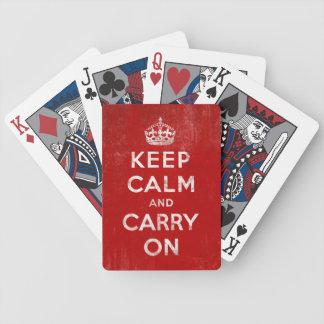 Mantenga tranquilo y continúe los naipes del rojo  cartas de juego