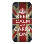 Mantenga tranquilo y continúe Union Jack iPhone 5 Carcasa