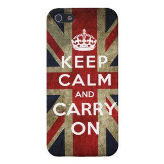 Mantenga tranquilo y continúe Union Jack iPhone 5 Protector