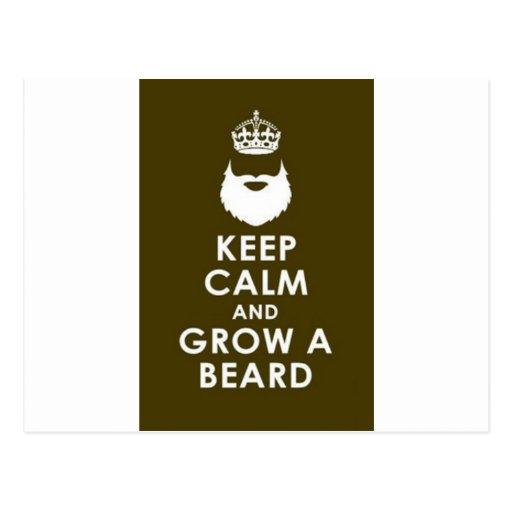 Mantenga tranquilo y crezca la barba tarjeta postal