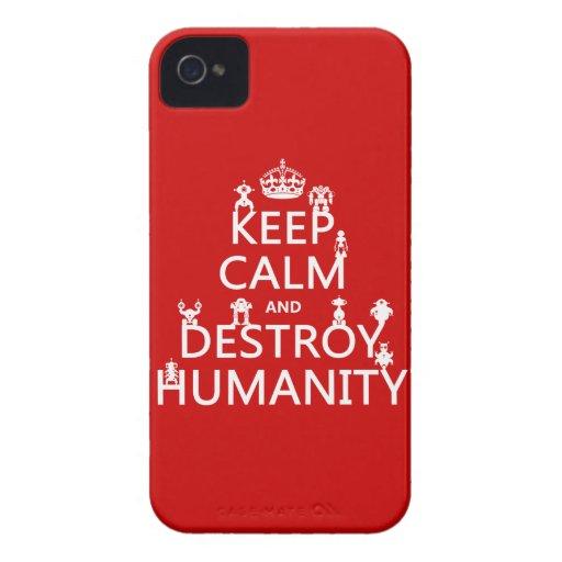 Mantenga tranquilo y destruya la humanidad (los iPhone 4 cárcasa