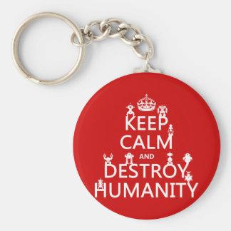Mantenga tranquilo y destruya la humanidad (los llavero redondo tipo pin