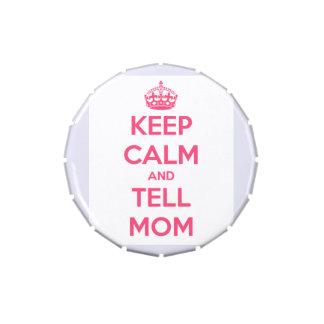 Mantenga tranquilo y diga a mamá la lata rosada frascos de caramelos