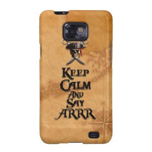 Mantenga tranquilo y diga ARRR Samsung Galaxy S2 Carcasas