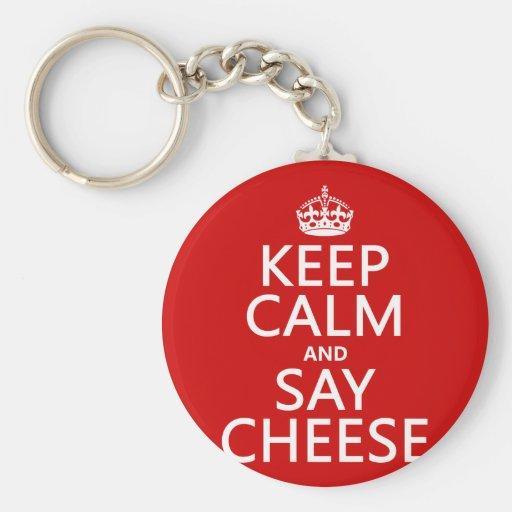 Mantenga tranquilo y diga el queso (fotografía) (c llavero redondo tipo pin