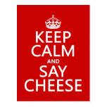 Mantenga tranquilo y diga el queso (fotografía) (c postales