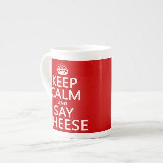 Mantenga tranquilo y diga el queso (fotografía) (c taza de porcelana