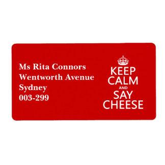Mantenga tranquilo y diga el queso (fotografía) etiqueta de envío
