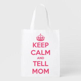 Mantenga tranquilo y diga la mamá rosada y el bolsas reutilizables