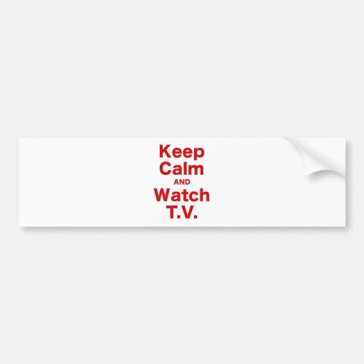 Mantenga tranquilo y el reloj TV Pegatina De Parachoque