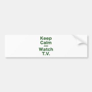 Mantenga tranquilo y el reloj TV Pegatina Para Auto