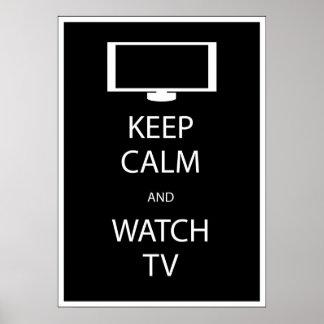 Mantenga tranquilo y el reloj TV Póster