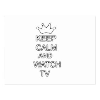 Mantenga tranquilo y el reloj TV Tarjetas Postales