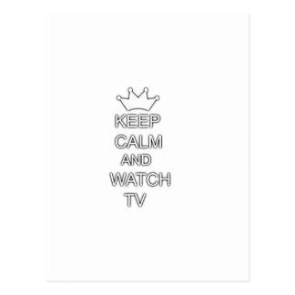 Mantenga tranquilo y el reloj TV Tarjeta Postal