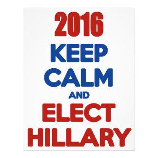 Mantenga tranquilo y elija a Hillary 2016 Membrete A Diseño