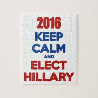 Mantenga tranquilo y elija a Hillary 2016 Rompecabeza Con Fotos