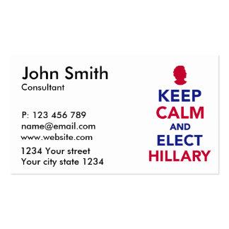 Mantenga tranquilo y elija a Hillary Tarjetas De Visita