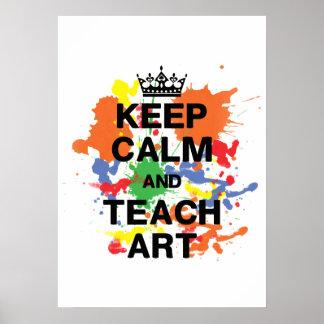 Mantenga tranquilo y enseñe al poster del arte