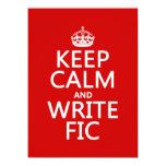 Mantenga tranquilo y escriba Fic - todos los Invitación 13,9 X 19,0 Cm