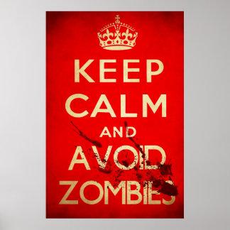 Mantenga tranquilo y evite a los zombis impresiones