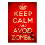 Mantenga tranquilo y evite a los zombis postal