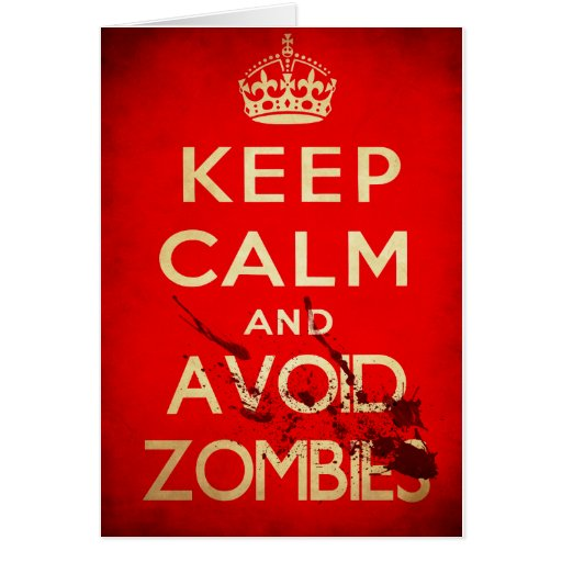 Mantenga tranquilo y evite a los zombis tarjeta de felicitación