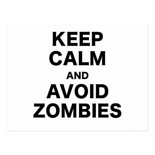 Mantenga tranquilo y evite a los zombis tarjetas postales