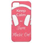 Mantenga tranquilo y gire la música iPhone 5 Case-Mate coberturas