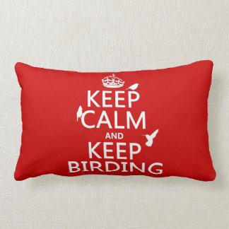 Mantenga tranquilo y guarde Birding (cualquier col Almohadas