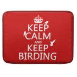 Mantenga tranquilo y guarde Birding (cualquier col Fundas Para Macbook Pro