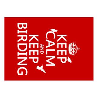 Mantenga tranquilo y guarde Birding (cualquier Tarjetas De Visita Grandes