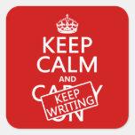 Mantenga tranquilo y guarde el escribir calcomania cuadrada personalizada